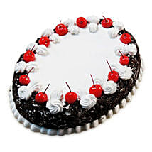 Oval Blackforest Spell 1kg Parent: Cakes to Farrukhabad