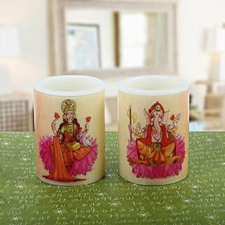 Pair of Lakshmi Ganesha Candle: Laxmi Ganesh Gifts