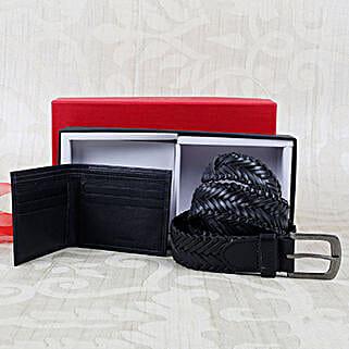 Paradigm Black Braided Belt Combo: Belts for Men