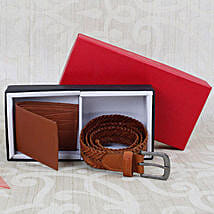 Paradigm Tan Braided Belt N Wallet Combo: Gifts for Husband