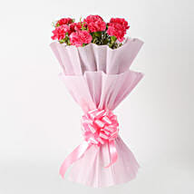 Passionate Pink Carnations Bouquet: Send Anniversary Gifts for Her