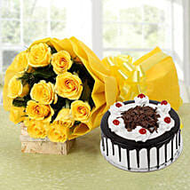 Yellow Roses Bouquet & Black Forest Cake: 1St Anniversary Cakes