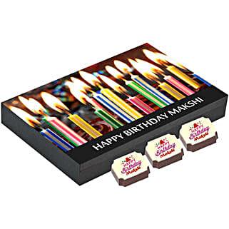 Personalised Birthday Gift Box- 12 Chocolates: Personalised Chocolates for Birthday