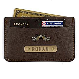 Personalised Dark Brown Card Holder: