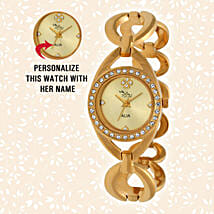 Personalised Graceful Golden Watch: Customized Gifts for Her