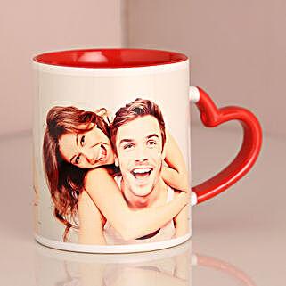 Personalised Red Heart Handle Mug: Send Valentine Personalised Gifts