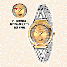 Personalised Trendy Silver & Golden Watch: Women's Watches
