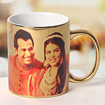 Personalized Ceramic Golden Mug: Send Gifts to Varanasi