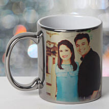 Personalized Ceramic Silver Mug: Send Valentines Gifts to Cuttack