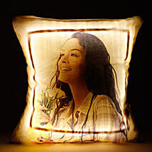 Personalized LED Cushion Yellow: Cakes to Jhumri Telaiya