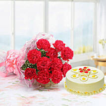 Pink Carnations With Butterscotch Cake: