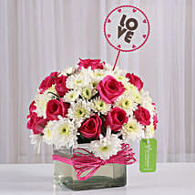 Pink Roses & White Daisies in Glass Vase: Romantic Flowers