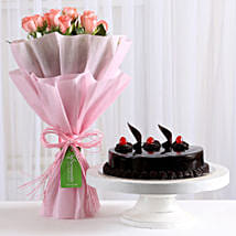 Pink Roses with Cake: Send Flowers & Cakes to Delhi