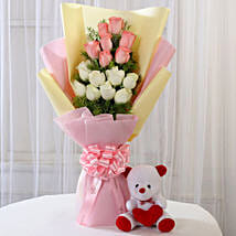 Pink & White Roses with Teddy Bear Combo: Flower N Teddy