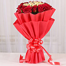 Premium Rocher Bouquet: Valentine Roses for Girlfriend