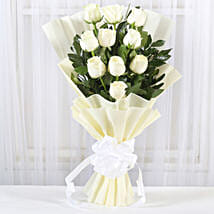 Pristine White Roses Bunch: Send Anniversary Flowers for Wife