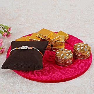 Rakhi And Handmade Chocolates Thali: Pooja Thali