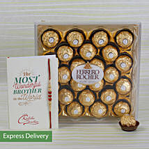 Rakhi Rocher Combo: Send Rakhi to Gudivada