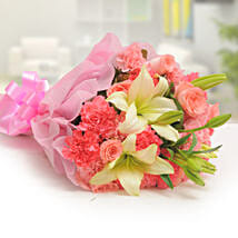 Ravishing Mixed Flowers Bouquet: Roses for Wife