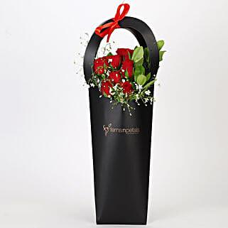 Ravishing Red Roses in Black Sleeve: Get Well Soon