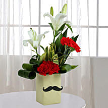 Red Carnation N Leaves Arrangement: Fathers Day Gifts From Daughter