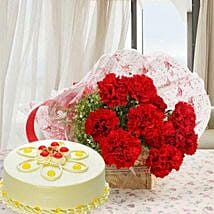 Red Carnations And Butterscotch Cake: Flower & Cakes for Fathers Day