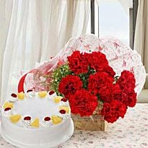 Red Carnations And Pineapple Cake: Send Flowers to Farah