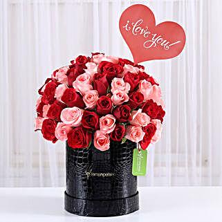Red & Dark Pink Roses Box Arrangement: Send Valentine Gifts to Hyderabad