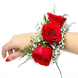 Red Rose Fresh Flower Bracelet: Send Flowers to Bhiwandi
