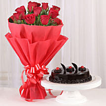 Red Roses with Cake: Send Valentine Flowers for Her