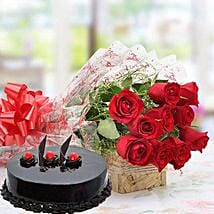 Red Roses With Truffle Cake: