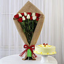 Red & White Roses with Butterscotch Cake: Cakes Combo