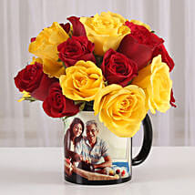 Red & Yellow Roses in Personalised Mug: Fathers Day Mugs
