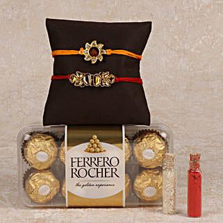 Rocher And 2 Rakhis Combo: Rakhi to Cuddalore