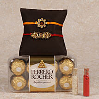 Rocher And 2 Rakhis Combo: Rakhi to Bodh Gaya