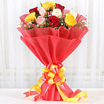 Mixed Roses Romantic Bunch: Valentines Day Gifts for Husband