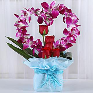 Romantic Heart Shaped Orchids Arrangement: Anniversary Flowers