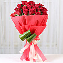 Romantic Red Roses Bouquet: Get Well Soon Flowers