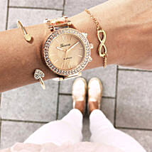 Rosegold Rush Beige Bracelet Stack: Buy Watches