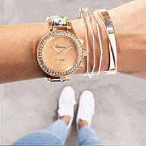 Rosegold Rush Blue Bracelet Stack: Watches