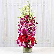 Roses And Orchids Vase Arrangement: Valentine Flowers for Her