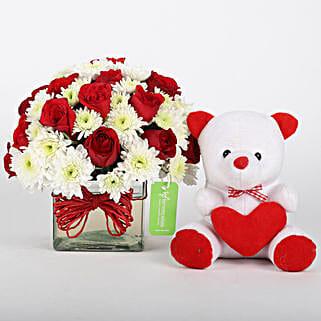 Roses & Daisies Vase with Teddy Bear Combo: Flowers & Teddy Bears for Birthday