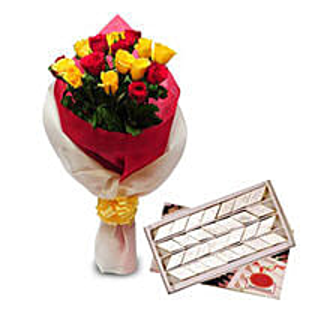 Roses N Kaju Katli EXDFNP104: Flowers & Sweets Thane