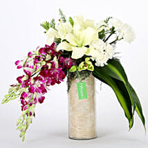 Orchids & Carnations Vase Arrangement: Republic Day Flowers Delivery