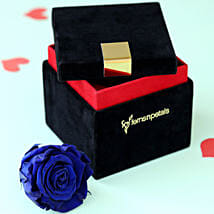 Royal- Forever Blue Rose in Velvet Box: Flowers to Navsari