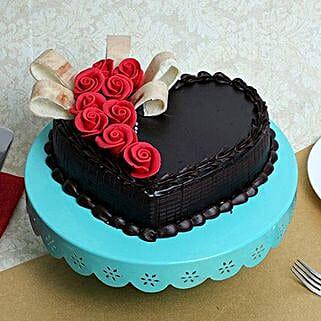 Semi Fondant Heart Cake: