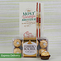 Set Of 2 Rakhi With Rocher: Send Rakhi to Gujrat