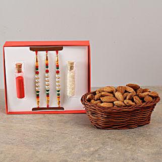 Set Of 3 Rakhis & Almonds Combo: Set of 3 Rakhi