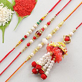Set Of 4 Rakhis- Designer & Lumba: Set of 4 Rakhi