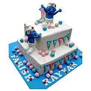 Smurfs Birthday Cake: Multi Tier Cakes